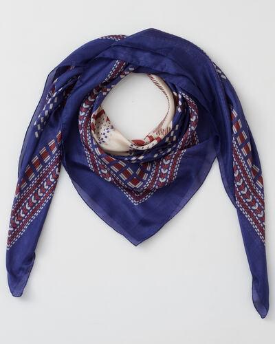 Foulard bleu imprimé en soie Speranza (1) - 1-2-3