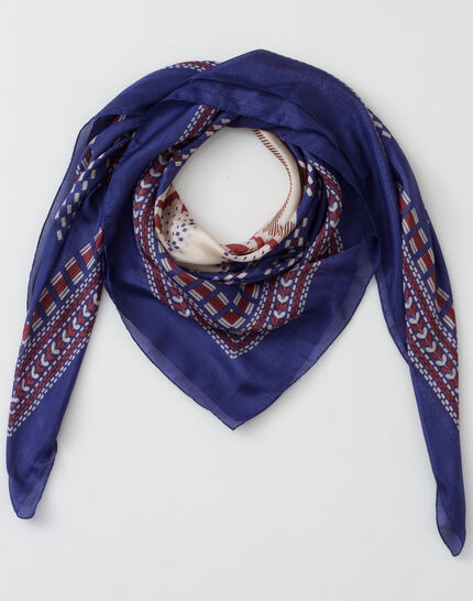 Speranza blue silk printed scarf (2) - 1-2-3