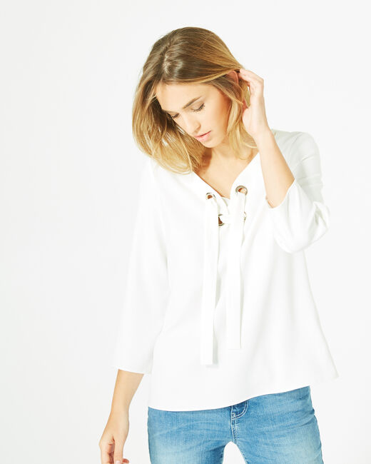 Domino white blouse with V-neck (2) - 1-2-3