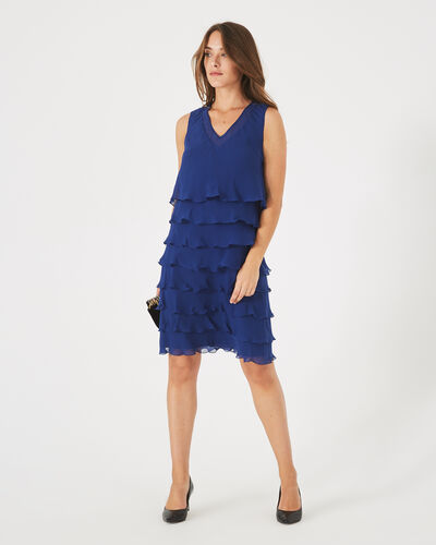 Flower royal blue flouncy silk dress (2) - 1-2-3