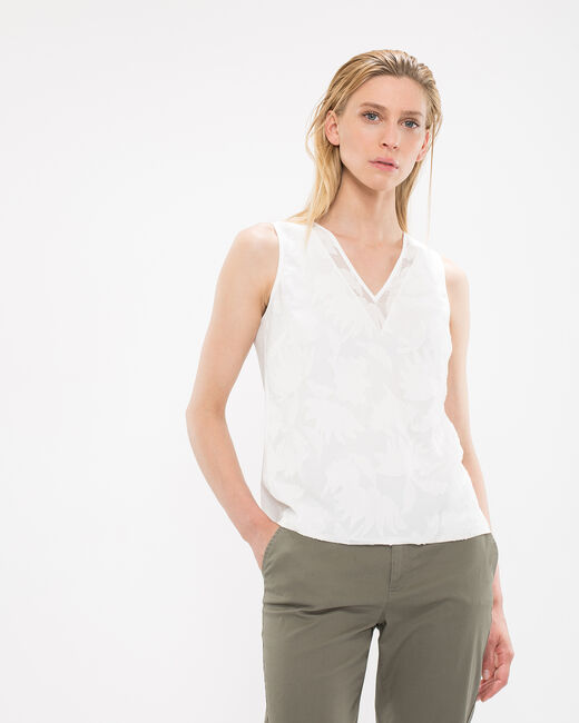 Tee-shirt écru dévoré effet dentelle New (2) - 1-2-3