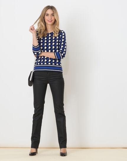 Tee-shirt bleu imprimé Losange (2) - 1-2-3