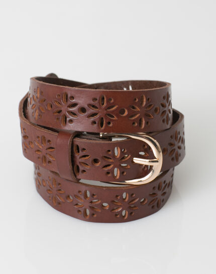 Yoko camel perforated leather belt (3) - 1-2-3