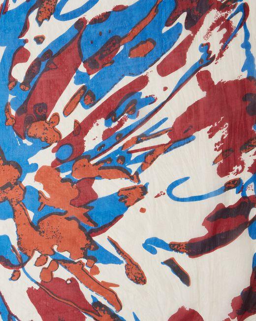 Elga royal blue silk printed scarf (1) - 1-2-3