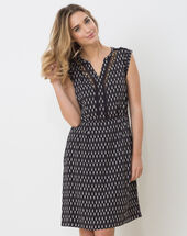 Boubou ethnic print dress black.