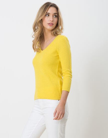 Heidi yellow sweater with stunning stitchwork (2) - 1-2-3