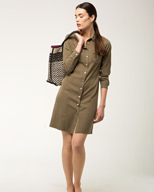 Biguine khaki shirt-dress (1) - 1-2-3