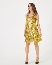 Bonita shiny yellow printed dress bronze.
