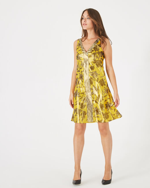 Bonita shiny yellow printed dress (2) - 1-2-3