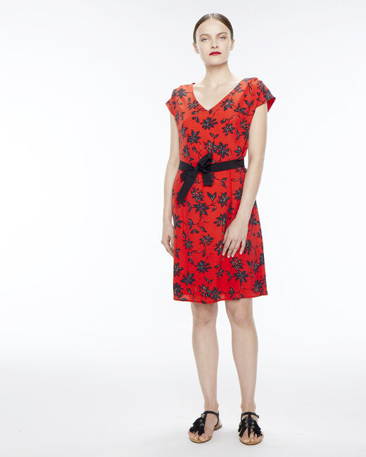 Red dress with a floral print (1) - 1-2-3