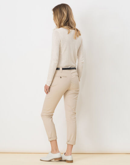 Diane tapered beige trousers with belt (4) - 1-2-3