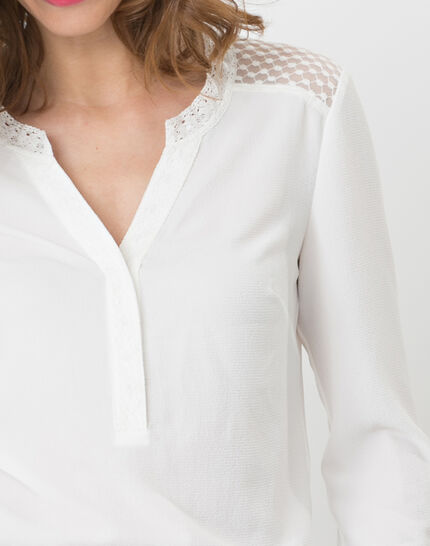 Edita ecru shirt with lace (4) - 1-2-3