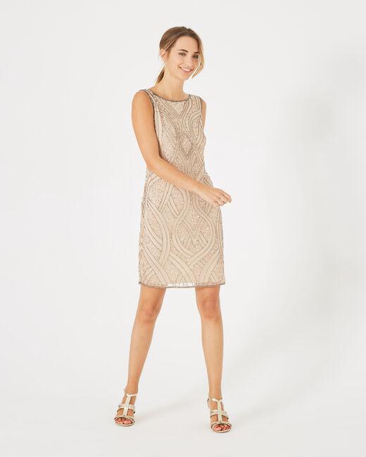 Nudefarbenes Kleid mit Stickerei Floride (2) - 1-2-3