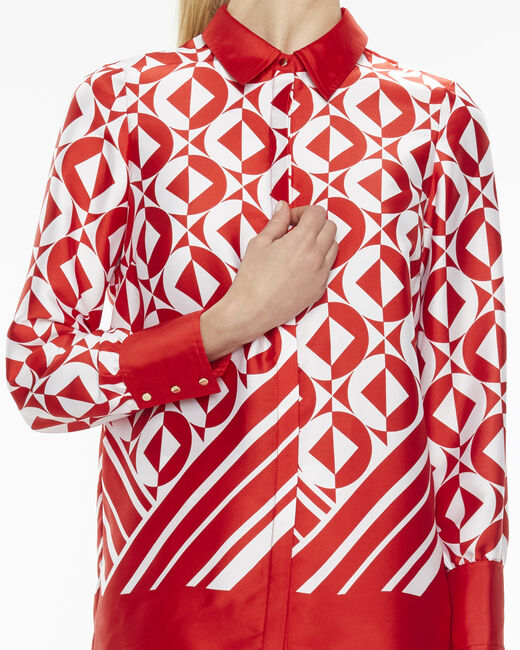 Ermine striking red print blouse (1) - 1-2-3