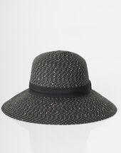 Jeff broad-brimmed straw hat black.