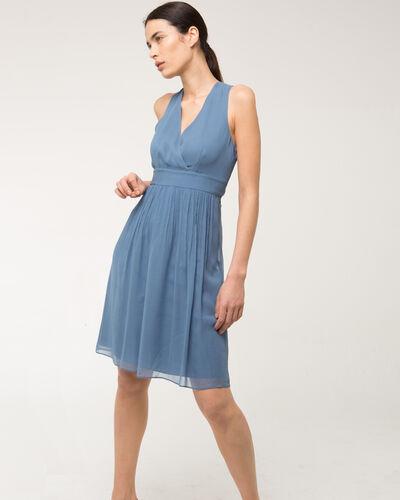 Robe bleue en soie bijou dos Florane (1) - 1-2-3
