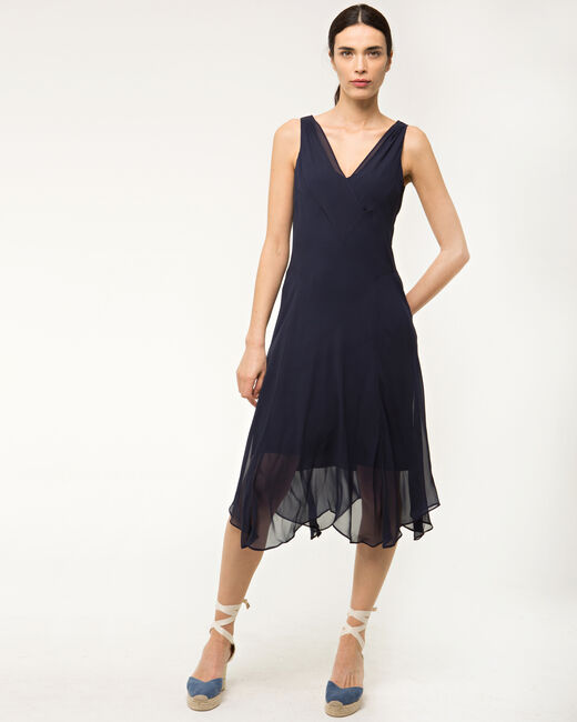 Foret mid-length blue silk dress (1) - 1-2-3