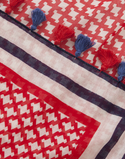 Samantha red printed scarf in cotton (3) - 1-2-3