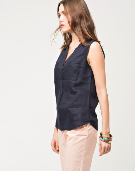 Elise navy linen sleeveless blouse (3) - 1-2-3