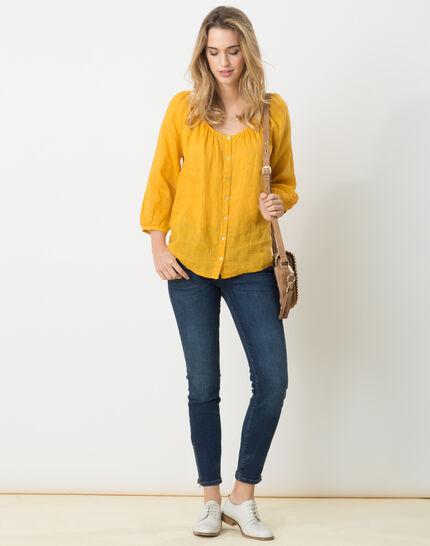 Erina yellow linen shirt (2) - 1-2-3