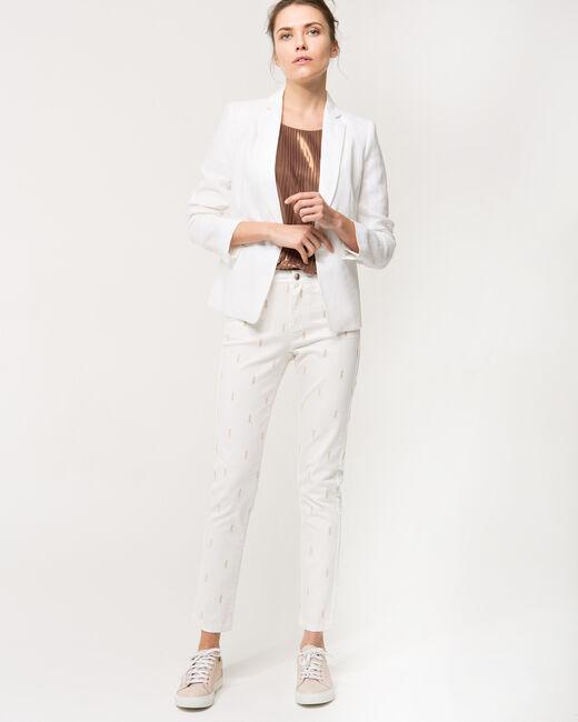 Pantalon 7/8 blanc brodé Xylon (1) - 1-2-3