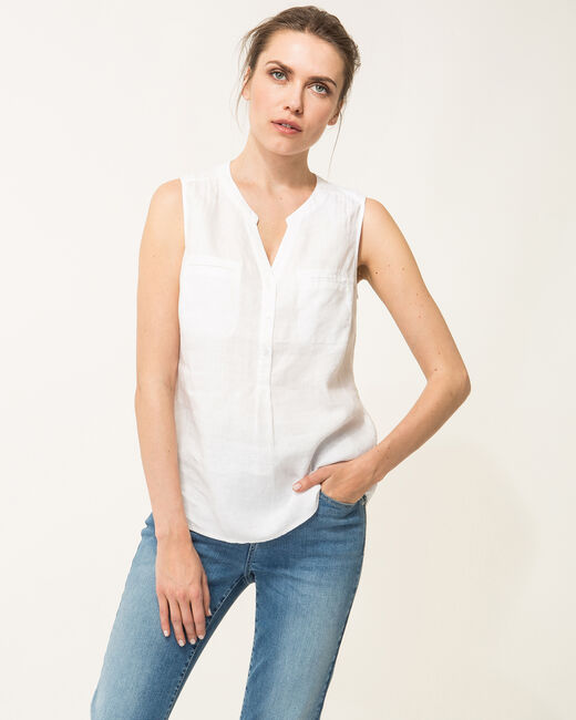 Elise ecru linen sleeveless blouse  (1) - 1-2-3