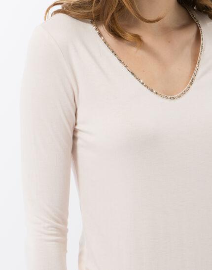 Lyubia pale pink V-neck T-shirt adorned with Swarovski crystals (5) - 1-2-3