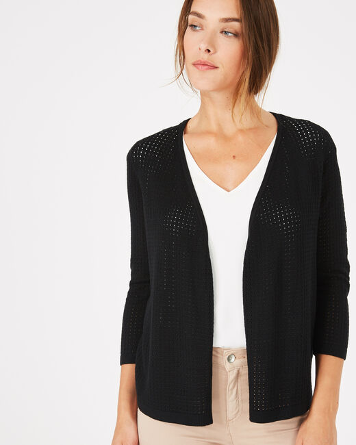 Palissade black cardigan in an openwork knit (2) - 1-2-3