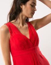 Loulou red dress in silk geranium.