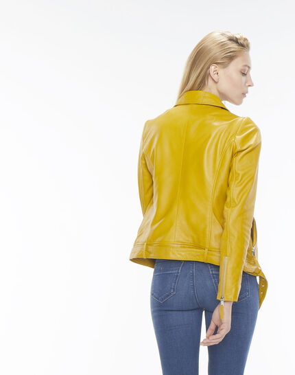 Gabriel yellow biker-style leather jacket (6) - 1-2-3