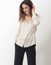 Flo silver-coloured silk blouse cream.
