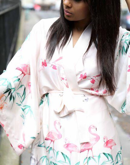 Kimono long rose imprimé Ukao (5) - 1-2-3