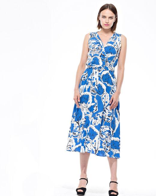Robe mi-longue imprimée bleue Brunette (1) - 1-2-3