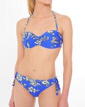 Bas de bikini bleu fleuri orné d'un noeud jenna bleu.