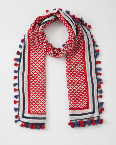 Samantha red printed scarf in cotton (1) - 1-2-3