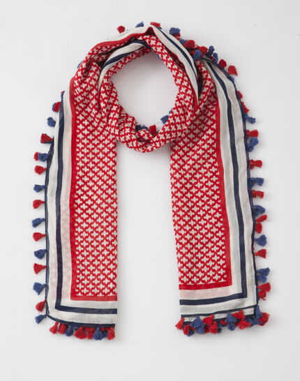 Samantha red printed scarf in cotton (2) - 1-2-3