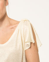 Nuba pale yellow linen t-shirt corn.