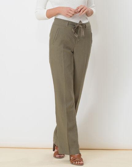 Dolly wide-cut khaki linen trousers PhotoZ | 1-2-3