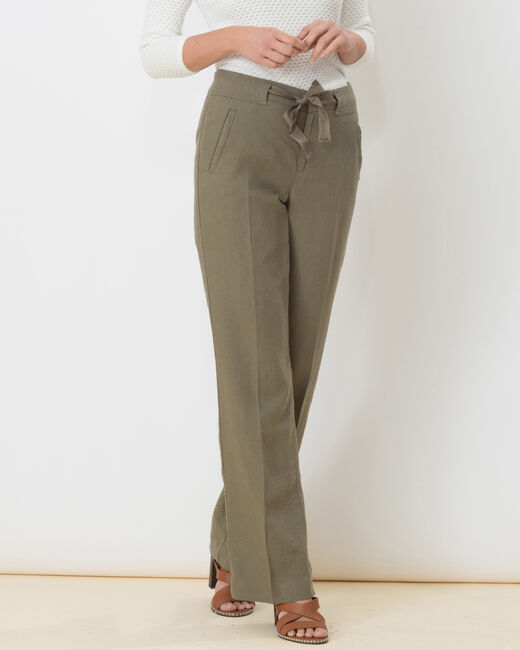 Pantalon large kaki en lin Dolly (1) - 1-2-3