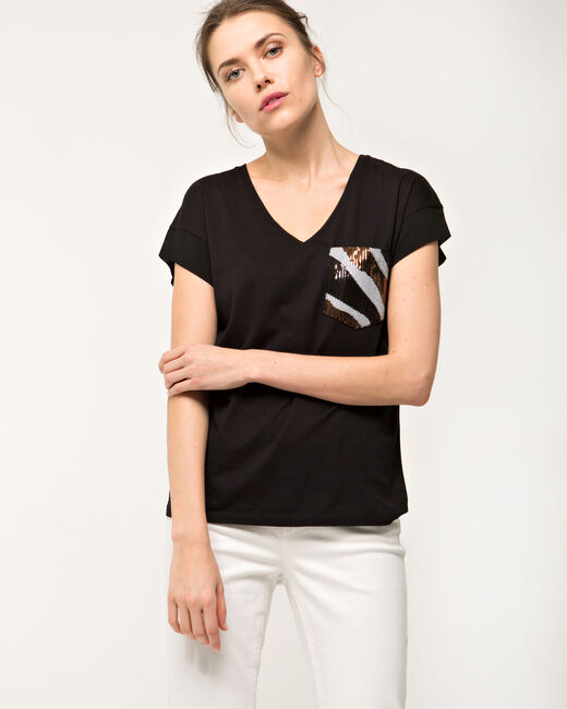 Tee-shirt noir poches sequins Nocket (2) - 1-2-3
