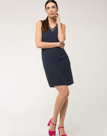 Felicie blue dress with diamanté neckline (2) - 1-2-3