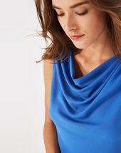Top bleu roi col bénitier daisy bleuet.