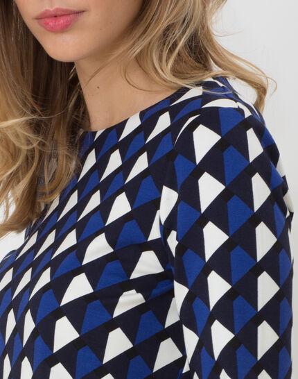 Tee-shirt bleu imprimé Losange (5) - 1-2-3