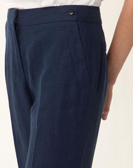 Pantalon large bleu marine en lin Roller (4) - 1-2-3