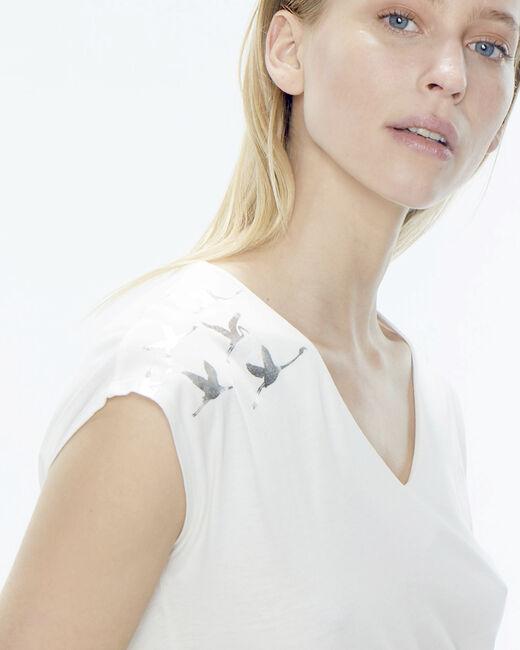 Tee-shirt écru oiseaux épaules Namingos (1) - 1-2-3