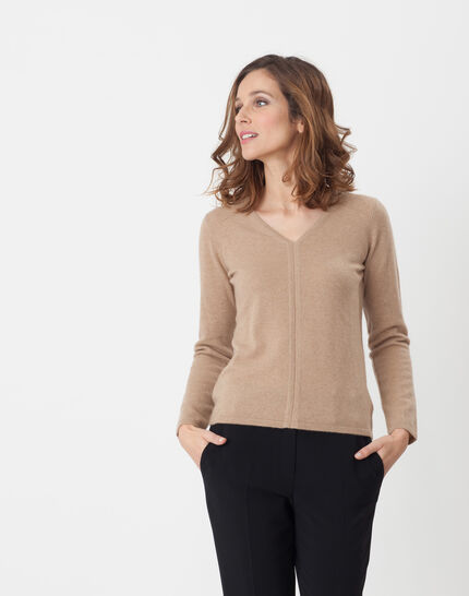 Heart taupe cashmere sweater PhotoZ | 1-2-3