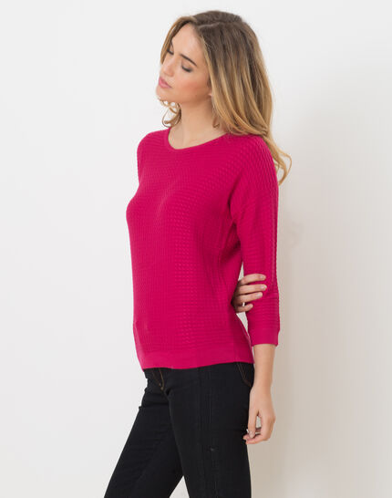 Hélice fuchsia sweater with long sleeves (3) - 1-2-3