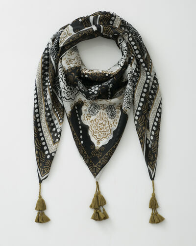 Sancho olive green printed scarf (1) - 1-2-3