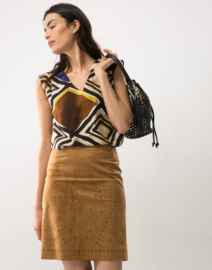 Deco perforated camel skirt PhotoZ | 1-2-3
