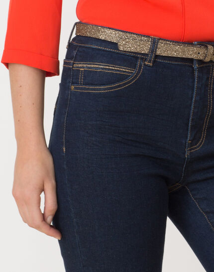 7/8 length raw-look jeans with golden belt PhotoZ | 1-2-3